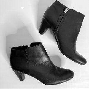 Sam Edelman Black Leather Cone Heel Ankle Boots